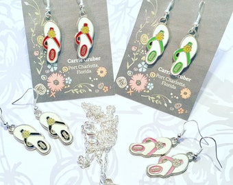 Popular brand enamel charm flip flop earrings on nickel free ear wires. Necklace also available for additional fee.