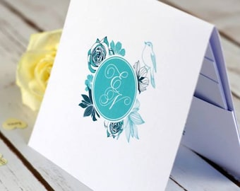 Floral Initials Pocketfold Wedding Invitations, country wedding, personalised, handmade, rsvp, spring summer wedding, save the date, summer