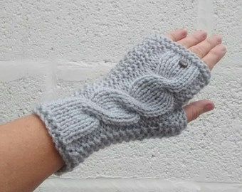 Wristwarmers, Aran Cable Women's Silver Birch Fingerless Gloves, Grey Mittens, Gifts for Her