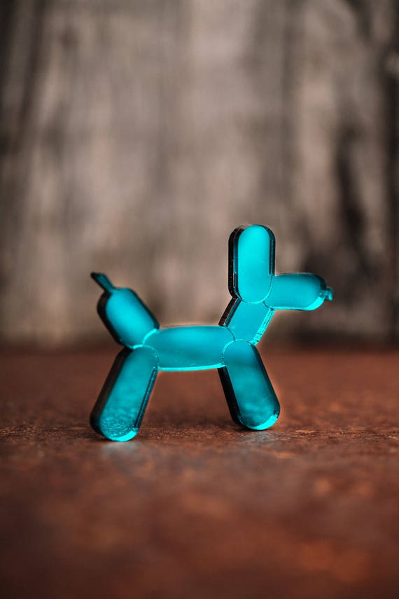 NEW Teal Green Balloon Dog Necklace or Brooch - Mirror Acrylic