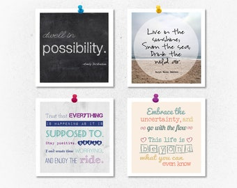 Square prints, small print, set of 4 prints, inspiring quotes, motivational art, word art, typography, inspirational quote, print set, gift