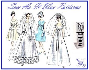 1960s FF Unused Vogue Special Design 6768 Wedding Bridal Evening Bridesmaid Dresses Veil Bow Trim Vintage Sewing Pattern Size 14 Bust 34