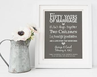50th anniversary gift - personalised anniversary print- anniversary present- golden wedding anniversary - fifty anniversary