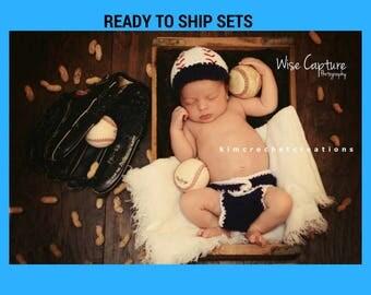Crochet BASEBALL Set READY to SHIP, Hat and Diaper Cover, Newborn photo props, shower gift, baby boy, spring/summer photo props, Newborn boy