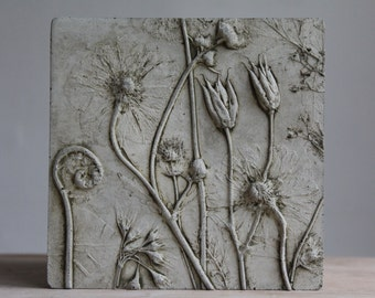 Columbine seed heads, Geum, Fern and Primula in Cement