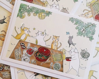 Cats Picnic Backyard Party Greeting Card (5x7 size) black cat, red tabby cat, white cat, silver cat, wine, staub