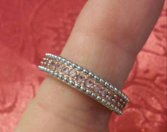 Genuine Pink Sapphire Band Ring 6