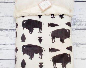 Personalized Buffalo Minky Blanket, Minky Baby Blanket, Arrows and Buffalo Baby Blanket, Tribal Blanket