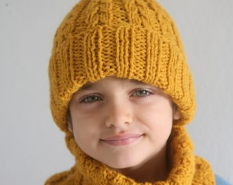 Hand Knitted Children Set. Cable Knitted Hat and Snood. Mustard Yellow. Ready to Ship.