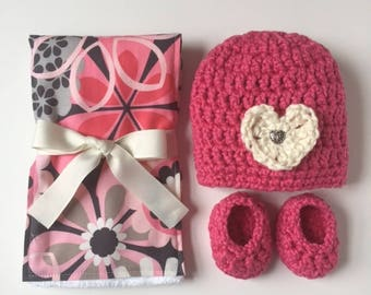Organic cotton hat, booties, and diaper burp cloth set for baby girls, Organic cotton crocheted baby hat, Organic cotton baby set