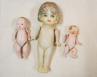 Antique Bisque Dolls Bye-Lo Babies and Frozen Charlotte Doll