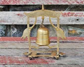 Vintage Brass Fish Pagoda Bell and Stand