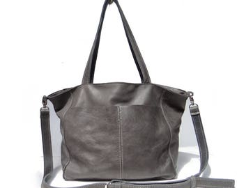 A large leather bag color #gray