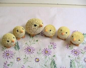 Chicks, Easter Bottle Brush Hen and Baby Chicks, set of 6