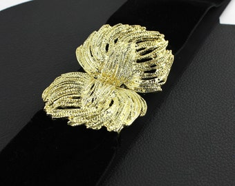 Vintage Black Velvet Belt with Gold Buckle