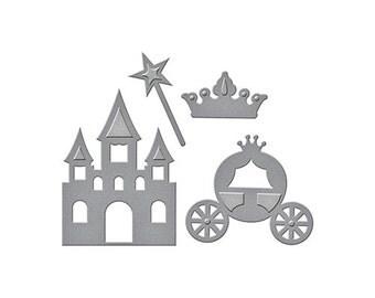 Spellbinders D-Lites PRETTY PRINCESS Carriage castle crown wand Cutting Dies S2-230 1.cc52