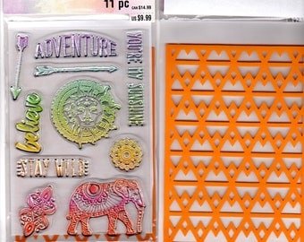 "Recollections Color Splash YOU'RE My SUNSHINE - Stamp & Stencil Set Acrylic stamps 6"" x 4"" Stamps Elephant Stamp 1.cc02"