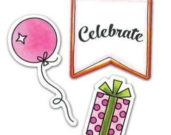 Sizzix Lori Whitlock Stamps and Framelits Dies Set - 560287 HAPPY BIRTHDAY to You!! celebrate banner gift present hat balloon 1.cc02