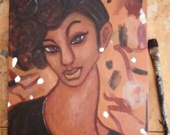 Original 11x14 Modern African American portrait painting Canvas ArT