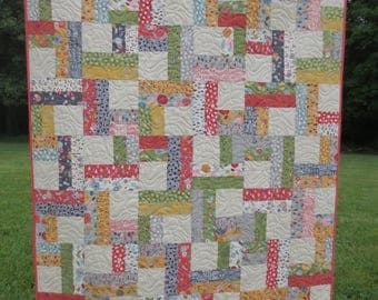 Handmade Quilt - Moda Fabric Collection Mon Ami - Bikes, Tree's, House's - Multi-colors - Ready to Ship