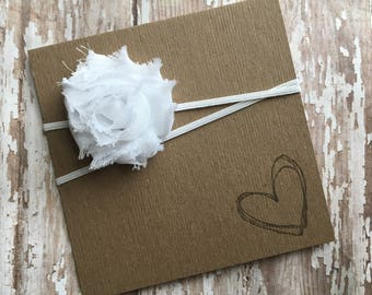 White MINI Shabby Flower Headband