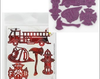 FIRE DEPARTMENT (Set of 5) Die set by Cheery Lynn Designs dies B538 truck,hydrant,ax,logo,helmet included.