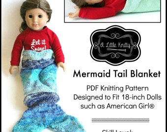 Pixie Faire A Little Knitty Mermaid Tail Blanket Knitting Pattern for 18 inch American Girl Dolls - PDF
