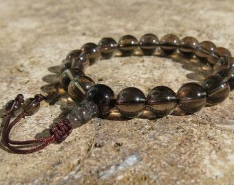 Smoky Quartz 10mm Mala Prayer beads with sliding adjustable closure, 18 beads. Wrist Mala. Grounding and positive energy