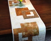 Modern Batik Table Runner, Handmade Gold Quilted Tablerunner, Gold Cream Wallhanging, Reversible Table Quilt, Contemporary Dining Room Decor