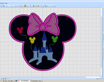 Embroidery Iron-on Patch - Minnie head Castle silhouette - iron-on