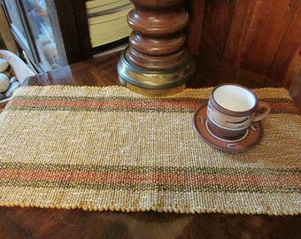 Woven Table Runner -Golden Tan with Red and Black Borders-  44.5 ""