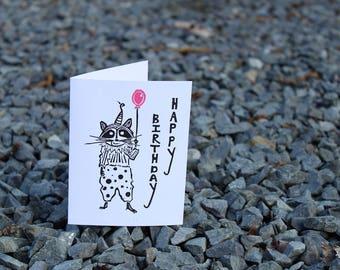 Happy Birthday Racoon Greeting Card