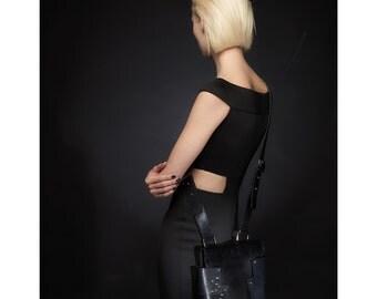 Black leather cross body bag, studded handbag,gift for her,christmas gift,shoulder bag,luxury bag,steampunk,goth,womans bag,studded bag