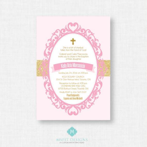 Printable Baptism Invitation- Pink and Gold Baptism Invitation -  First Communion, Confirmation, Christening - Printable invitation