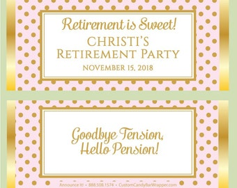 Retirement Candy Bar Wrappers - Retirement is Sweet Candy Wrapper Party Favors (with foil)