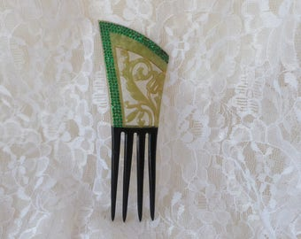 Art Deco Hair Comb, Green Hair Comb, Vintage Hair Comb, Rhinestone Hair Comb, Celluloid Hair Comb, Hair Accessory, Hair Jewelry