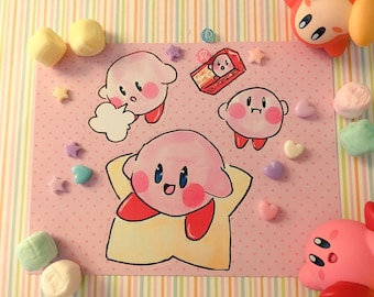 Traditionally Illustrated Kirby Sticker Set