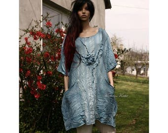 Molly - Extravagant Hand Dyed Linen-Cotton Loose-Line Tulip-Dress Lagenlook Plus Size Tunic Dress with Rose Application OOAK