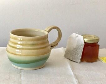 Wheel Thrown Pottery Mug. Green and Brown Mug. Ceramic Mug. Coffee Cup. Tea Mug. Handmade Pottery. Porcelain Tea Cup. Pottery Coffee Mug Cup