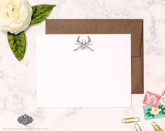 Deer Stationery, Deer Notecards, Personalized Stationery, Personalized Gift, Boy Stationery,  Set of 25