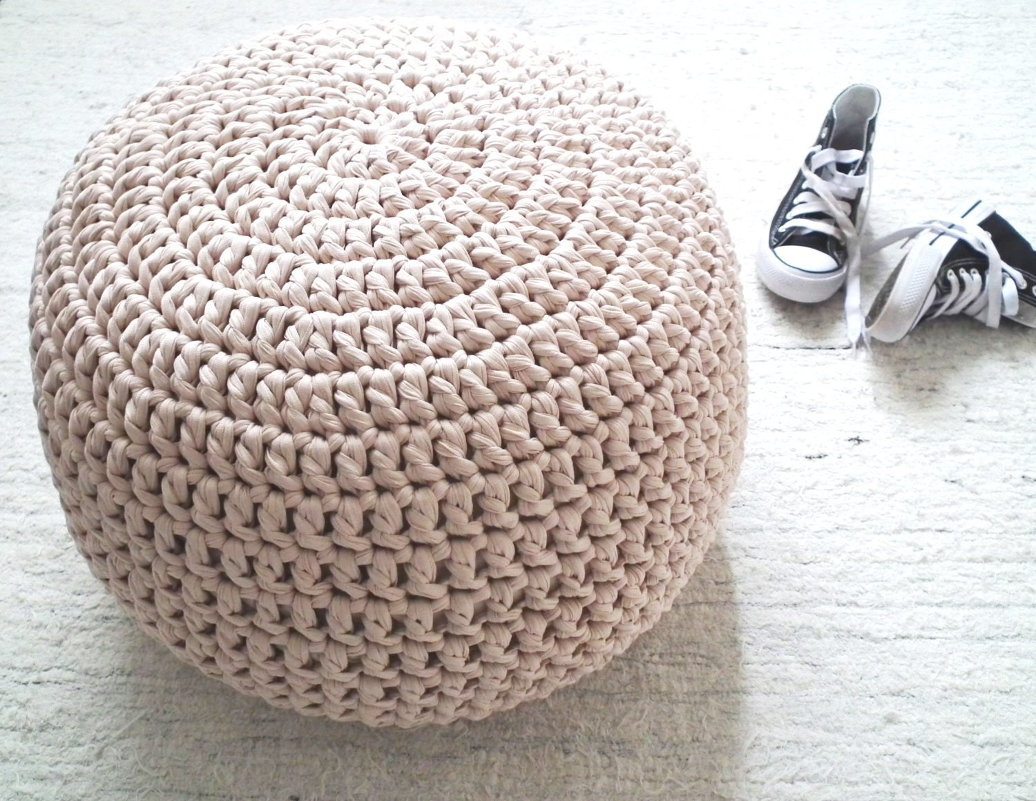 blush pink pouf ottoman pouf ottoman nursery foot stool floor. Black Bedroom Furniture Sets. Home Design Ideas