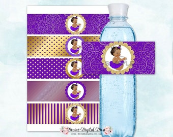 Violet Purple & Gold Water Bottle Label | African American Princess Tutu | Digital Instant Download