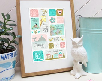 Cute Animal Nursery Art Print