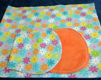 Rainbow Flowers with Orange Backing Hemstitched Baby Blanket and Burps ready for you to crochet by Lindas Hemstitching