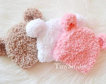 Fluffy Bear Hat, Newborn Bear Hat, Baby Bear Hat, Beige Pink White Bear Hat, Teddy Bear Hat, Baby Girl Bear Hat, Baby Boy Bear Hat, Bears