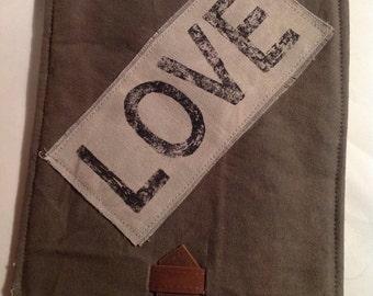 Handmade Rustic IPAD cover ~ LOVE