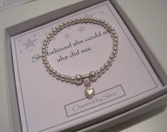 Sterling Silver Satin Heart Charm Stretch Bead Bracelet - a perfect gift for a daughter