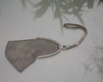 French antique 19th century sterling Silver Mesh Mistletoe Purse jewelry bag coin bag flower ornate silver bag pendant olid silver hand bag