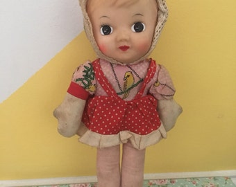 Vintage Kitschy Wide Eye Rubber Face Dolly
