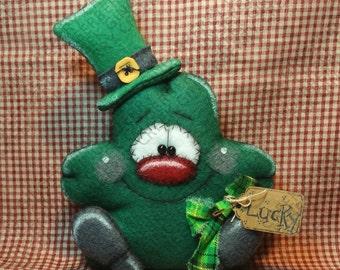 E-Pattern - Lucky Little Shamrock Pattern #256 - Primitive Doll E-Pattern - St. Patrick's - Shamrock - Clover - Lucky - Irish